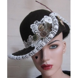 Ladies Wool Felt, medium brim , vintage style, steam punk hat